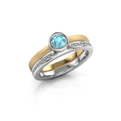 Picture of Ring Cara 585 gold blue topaz 4 mm