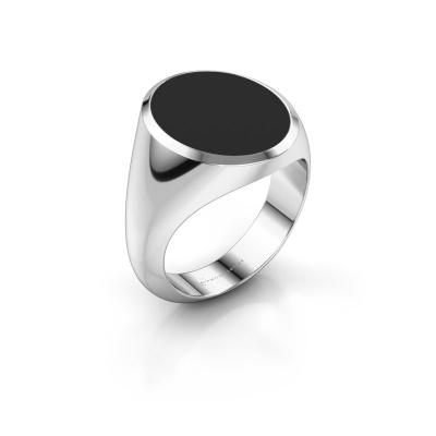 Signet ring Herman 6 950 platinum black enamel 16x13 mm