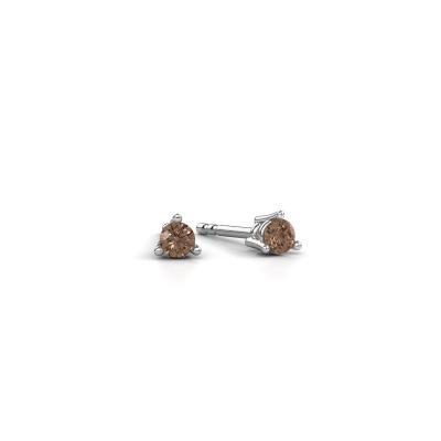 Foto van Oorstekers Somer 950 platina bruine diamant 0.10 crt