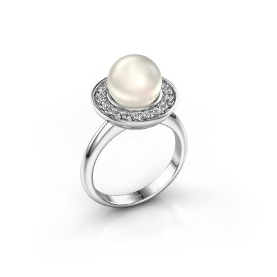 Ring Sarah 585 witgoud witte parel 9 mm