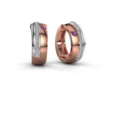 Picture of Hoop earrings Shakita 585 rose gold amethyst 2 mm