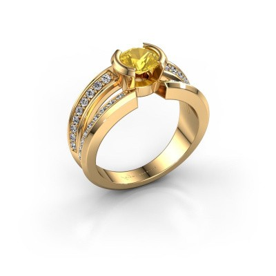 Foto van Heren ring Rowan 585 goud gele saffier 6.5 mm