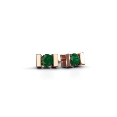 Oorstekers Lieve 375 rosé goud smaragd 3.7 mm