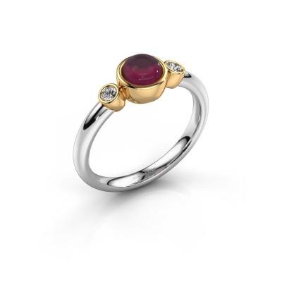 Ring Muriel 585 witgoud rhodoliet 5 mm