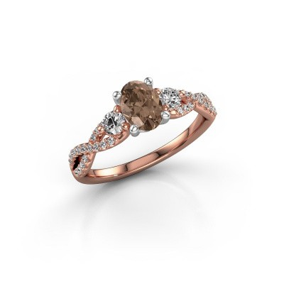Foto van Verlovingsring Marilou OVL 585 rosé goud bruine diamant 1.16 crt