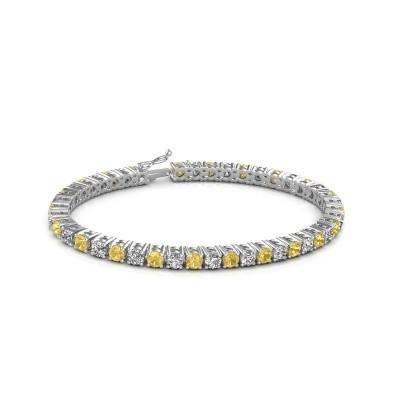 Tennis bracelet Karin 375 white gold yellow sapphire 4 mm