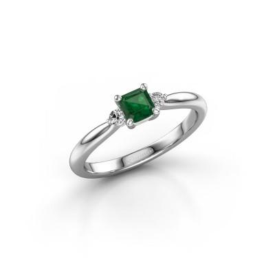 Foto van Verlovingsring Lieselot ASS 585 witgoud smaragd 4.5 mm