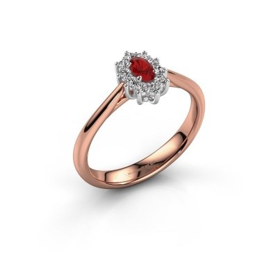 Picture of Engagement ring Leesa 1 585 rose gold ruby 6x4 mm