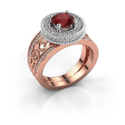 Ring Joy 585 rose gold ruby 6.5 mm