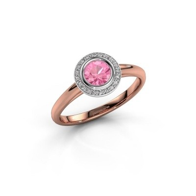 Promise ring Noud 1 RND 585 rose gold pink sapphire 4.7 mm