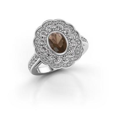 Foto van Ring Jocelyn 925 zilver rookkwarts 7x5 mm