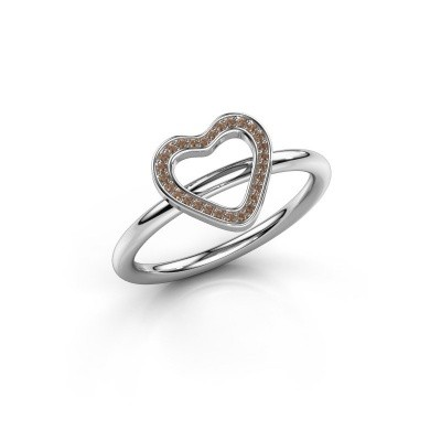 Ring Shape heart large 925 zilver bruine diamant 0.07 crt