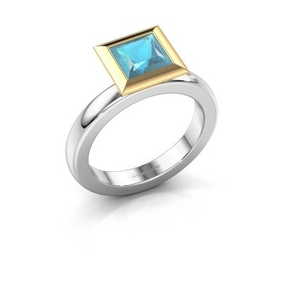 Stapelring Trudy Square 585 witgoud blauw topaas 6 mm