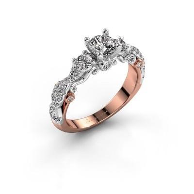Foto van Verlovingsring Kourtney 585 rosé goud diamant 1.056 crt