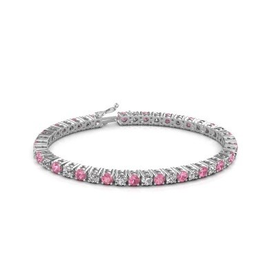 Photo de Bracelet tennis Karin 375 or blanc saphir rose 4 mm