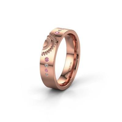 Trouwring WH2116L25A 375 rosé goud roze saffier ±5x1.7 mm
