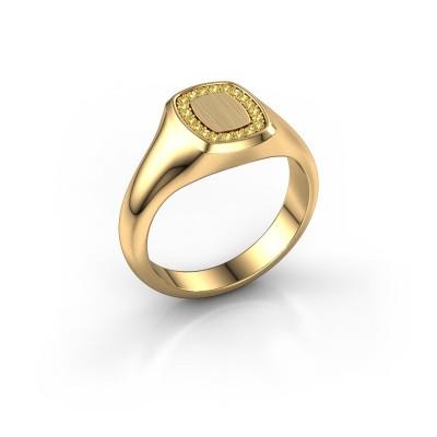 Foto van Zegelring Dalia Cushion 1 585 goud gele saffier 1.2 mm