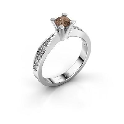 Promise ring Ichelle 2 950 platina bruine diamant 0.578 crt
