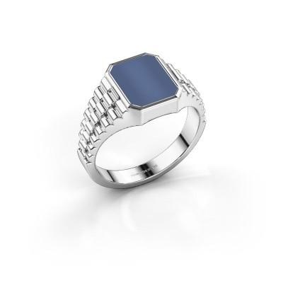 Foto van Rolex stijl ring Brent 1 585 witgoud blauw lagensteen 10x8 mm