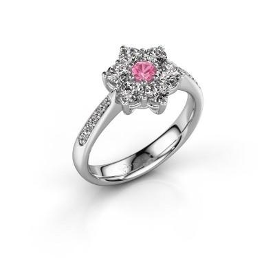 Foto van Verlovingsring Chantal 2 585 witgoud roze saffier 3 mm