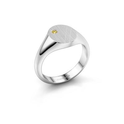 Foto van Pinkring Finn 3 925 zilver gele saffier 2 mm