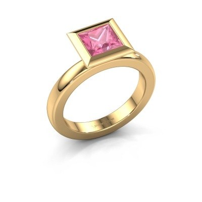 Stapelring Trudy Square 585 goud roze saffier 6 mm