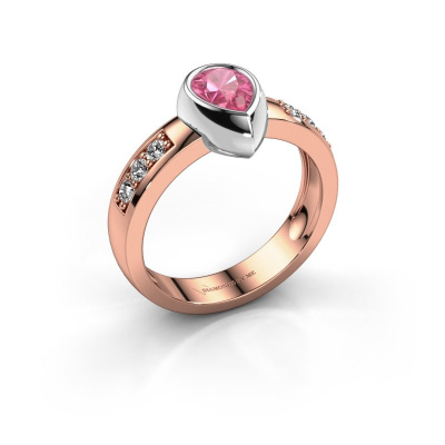Ring Charlotte Pear 585 rose gold pink sapphire 8x5 mm