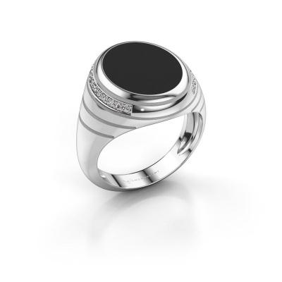 Signet ring Luuk 375 white gold black enamel 15x12 mm