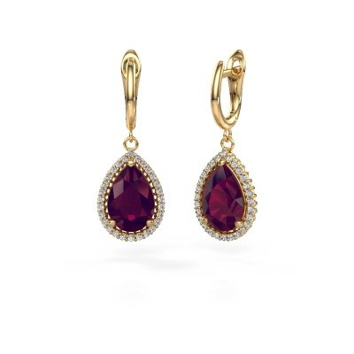 Picture of Drop earrings Tilly per 3 585 gold rhodolite 12x8 mm