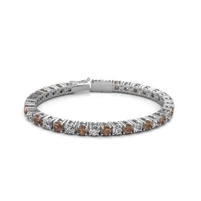 Foto van Tennisarmband Karin 5 mm 750 witgoud bruine diamant 17.00 crt