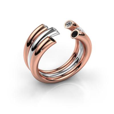 Ring Noelle 585 Roségold Schwarz Diamant 0.352 crt