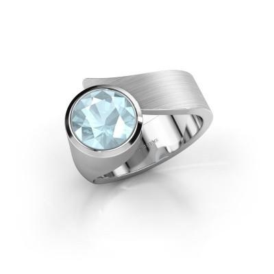 Ring Nakia 375 witgoud aquamarijn 8 mm