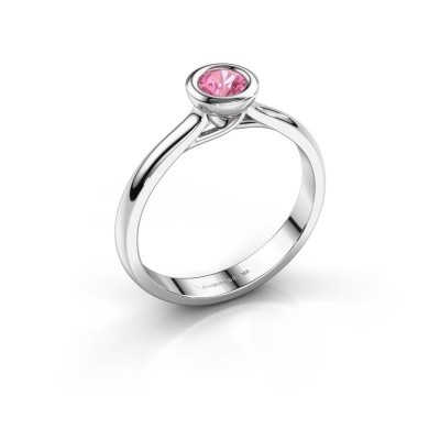 Foto van Verlovings ring Kaylee 925 zilver roze saffier 4 mm