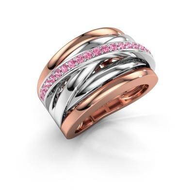 Foto van Ring Clair 1 585 rosé goud roze saffier 1.5 mm
