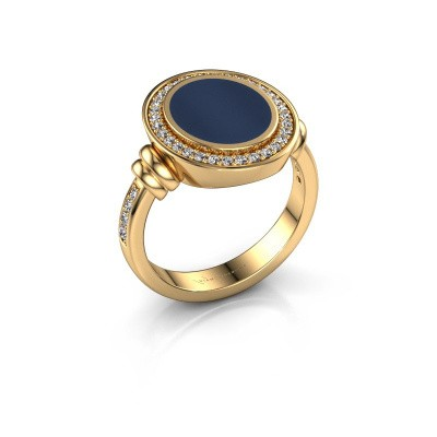 Zegelring Servie 2 585 goud donker blauw lagensteen 12x10 mm