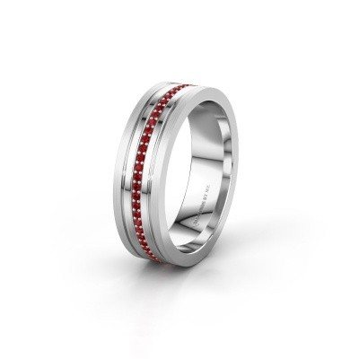 Wedding ring WH0404L16A 950 platinum ruby ±0.24x0.07 in