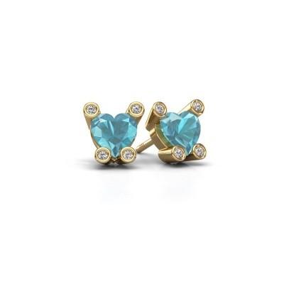 Oorstekers Cornelia Heart 585 goud blauw topaas 6 mm