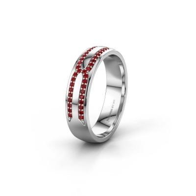 Wedding ring WH2212L25AP 925 silver ruby ±5x1.7 mm