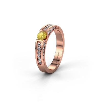 Trouwring WH2098L 375 rosé goud gele saffier ±4x3 mm