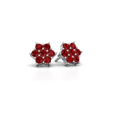 Picture of Stud earrings Bonita 585 white gold ruby 2.4 mm