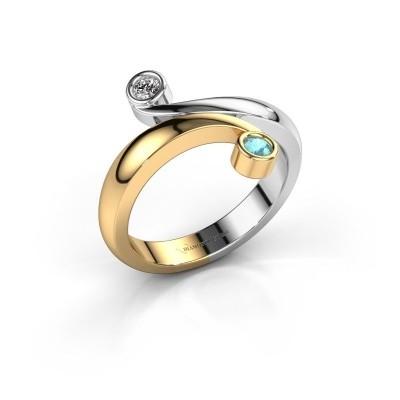 Ring Hilary 585 goud blauw topaas 2.5 mm