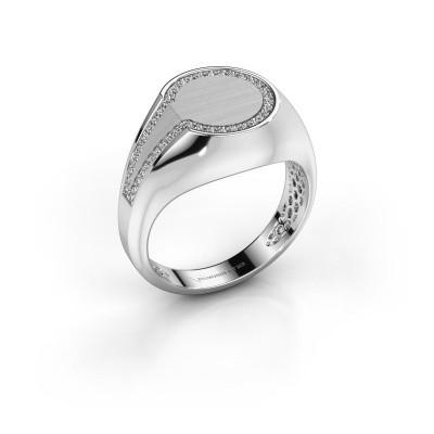 Heren ring Gijs 950 platina zirkonia 1 mm
