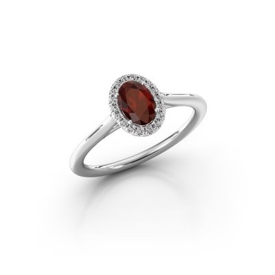 Engagement ring Seline 1 950 platinum garnet 6x4 mm