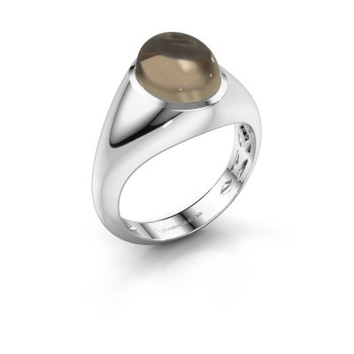 Ring Zaza 950 platinum smokey quartz 10x8 mm