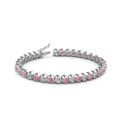 Photo de Bracelet tennis Bianca 585 or blanc saphir rose 4 mm