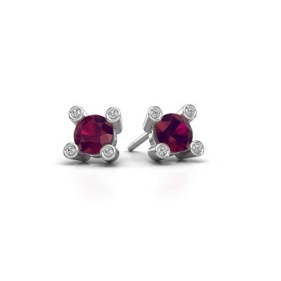 Picture of Stud earrings Cornelia Round 925 silver rhodolite 6 mm