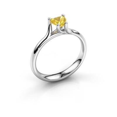 Verlobungsring Dewi Heart 585 Weißgold Gelb Saphir 5 mm