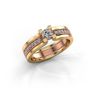 Foto van Verlovingsring Myrthe 585 rosé goud diamant 0.418 crt
