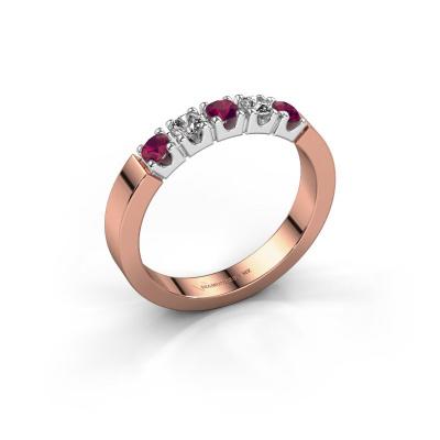 Verlovingsring Dana 5 585 rosé goud rhodoliet 3 mm