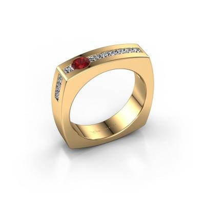 Foto van Mannen ring Arend 375 goud robijn 3.8 mm